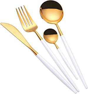 TD HOME 24 pieces Cutlery Set Mirror Polish Stainless Steel Flatware Silverware Set Service for 6 White & Gold