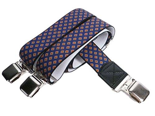 Olata Tirantes 'Y-Forma' Extra Fuerte (40mm) con Formal Diseños - Azul Marino con Naranja Diamantes