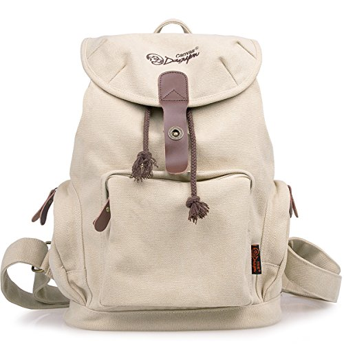DGY Women Retro Canvas Backpack Casual Backpack for Women College Backpack G00117 Beige