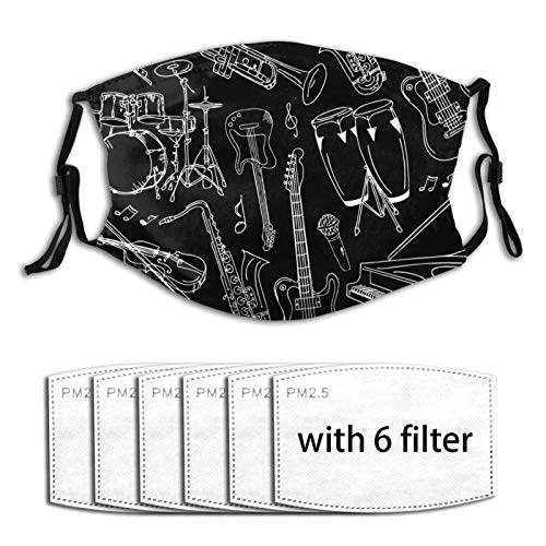 Men Women face mask Musical Instrument Guitar Piano Bass Black Dust-Masks with-filter Adjustable Elastic Dust-Masks for shopping, travel, party
