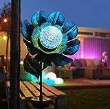 solarbetriebene Garten Steckleuchte im Blumen- oder Sonne&Mond-Design mit Rotations-LED, aus lackiertem Metall gefertigt, von Festive Lights (Solar Blume)