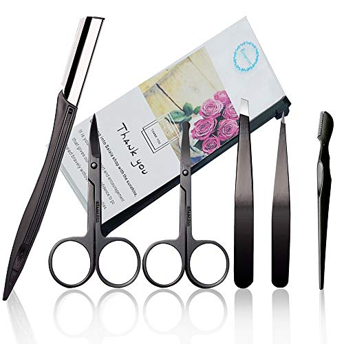 6PCS Eyebrow Tweezer and Scissor Set, Eyebrow Hair Trimmers Set, Nose Hair Removal Scissors, Eyebrow or Face Hair Removal Safety Razors for Man Woman