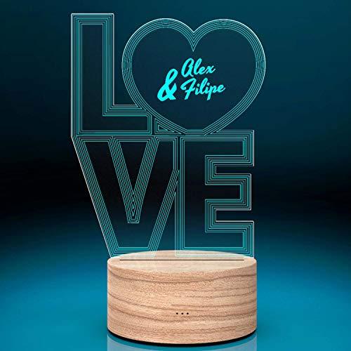Smyla Personalisiertes LED Deko-Licht - Love | LED-Leuchte mit Wunsch-Namen | Romantische LED-Lampe mit Gravur | Nachttischlampe | Deko Wohnzimmer