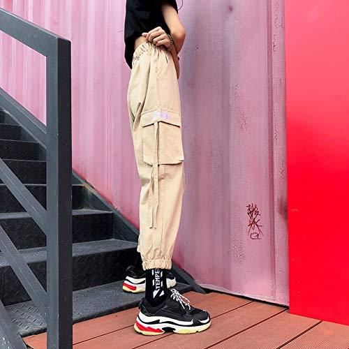 YSDSBM Pantalones Mujeres Carta Moda Hip Hop Cargo Pantalones Largos Elegantes Mujeres Verano All-Match Damas Cintura elástica Alta Nuevo