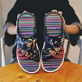 Men's Slippers Korean Style Flats Shoes Totem Printing Comfortable Shoes for Men Beach Shoes Slip on Casual Flip Flops (Color : Blue 2009, Shoe Size : 44)