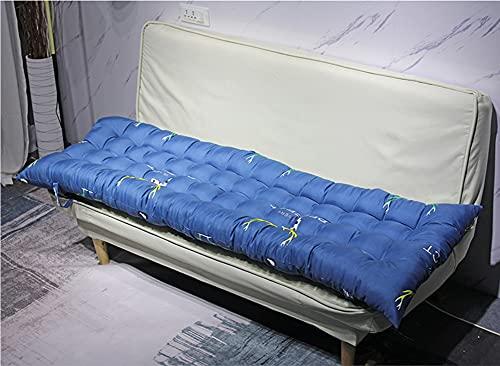 DanChen Cómodo cojín de asiento largo rectangular para sofá con lazo, cojín de 2/3 plazas para silla de jardín de 2/3 plazas, colchón grueso para tumbona, alfombrilla de repuesto suave
