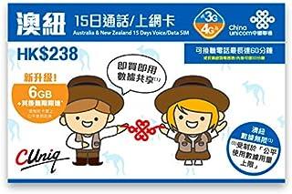 【中国聯通香港】オーストラリアとニュージーランド 15日間 データ/通話 SIMカード 6GB FUP