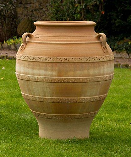 Kreta-Keramik | große Henkel-Amphore aus echter Terrakotta | 100 cm | handgefertigt und absolut frostfest | hochwertige Pflanzamphoren für den Garten, Balkon oder Terrasse, Cassia