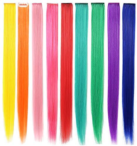 Rhyme Extensiones de Cabello Arco Iris Clip de Extensiones de Cabello de Color para nias Muecas Accesorios para el Cabello Wig Pieces For Kids 9 Piezas