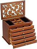 Joyero de madera tallada, 6 niveles con tapa abatible y 5 cajones, caja de almacenamiento de joyas de alta capacidad para anillos, pulseras, pendientes, collares, regalo
