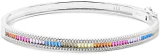 Sterling Silver Bracelet Lineargent Lane 925M Rodiado White Zircons Smooth Multicolored Back