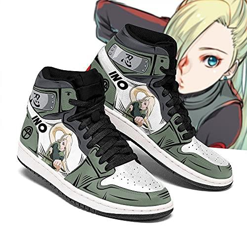Naruto Ino Yamanaka Shoes Uniform Costume Anime Sneakers -Zapatillas de Baloncesto para Hombre, Antideslizantes, Transpirables, con Cordones, Zapatillas Deportivas al Aire Libre a Juego