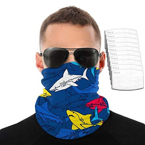 Toalla de cara con diseño de tiburones coloridos para deportes al aire libre, resistente al viento, transpirable, variedad de acuarelas, para hombres y mujeres, color Con 10 filtros., tamaño talla única