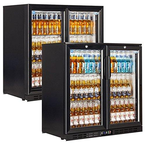 Interlevin EC20 Range Bar en Counter Display Chiller gekoeld Display met zwarte scharnierende deur 900(H) x900(W) x520(D) 210 liter 2 per deur planken -2 jaar Onderdelen Garantie inbegrepen