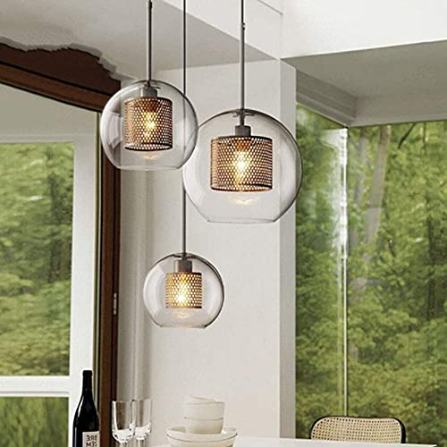 LLLQQQ Lámpara de techo para restaurante bar Taipéi, estilo europeo y retro, estilo industrial, cubierta de malla creativa, lámpara de araña de vidrio, simple (tamaño: 25 cm) (tamaño: 25 cm)