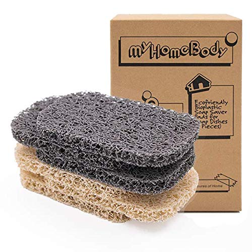 myHomeBody Soap Saver | Soap Lifting Pads for Soap Dish | Multi-Directional Weave, Efficient Draining Soap Bar Holder for Shower | 6 Piece Set – 3...
