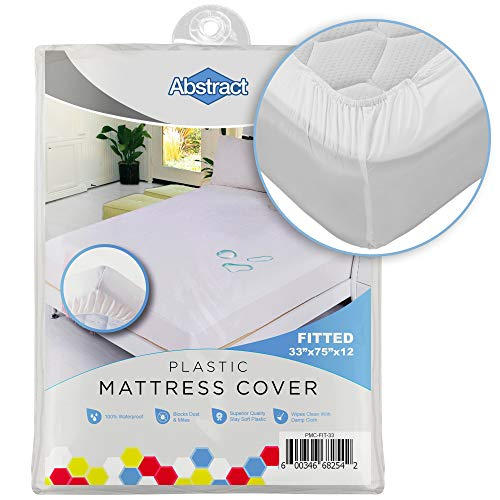"""Abstract Waterproof Mattress Cover – 33 x 75 x 12"""" for Toddler, Trundle, Bunk Bed – Heavy Duty Vinyl Plastic Bed Protective Fitted Sheet, 100 GSM PVC – Long Lasting Quality, Comfortable"""