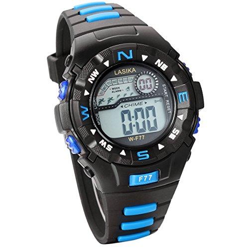 JewelryWe Studenten Armbanduhr, Multifunktions Sportuhr Digital elektronische Uhr für 10-20-Jährigen Kinder Teens Jungen Mädchen, Blau Schwarz