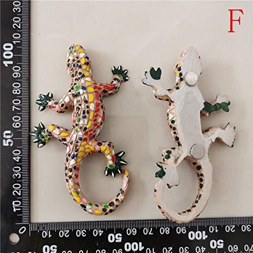 Imán de refrigerador 3D Español República Dominicana Turismo Mosaico conmemorativo Lagarto Gecko Imanes De Frigorífico Iman De Frigorífico para Decoración del Hogar (Color : F 1PC)