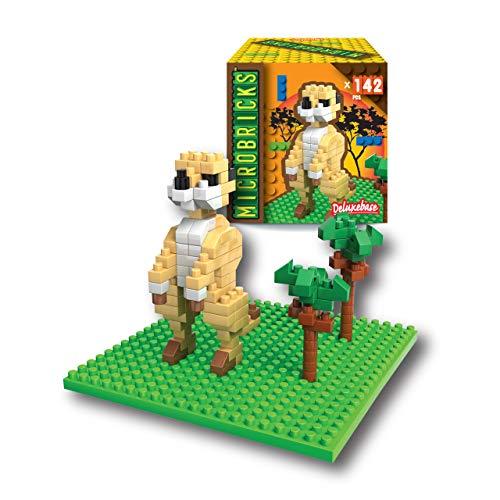 Microbricks - Suricata de Deluxebase. Puzzle de los Animales del Safari con Mini Bloques. Temática Animal. Rompecabezas 3D fácil de Usar para niños y niñas