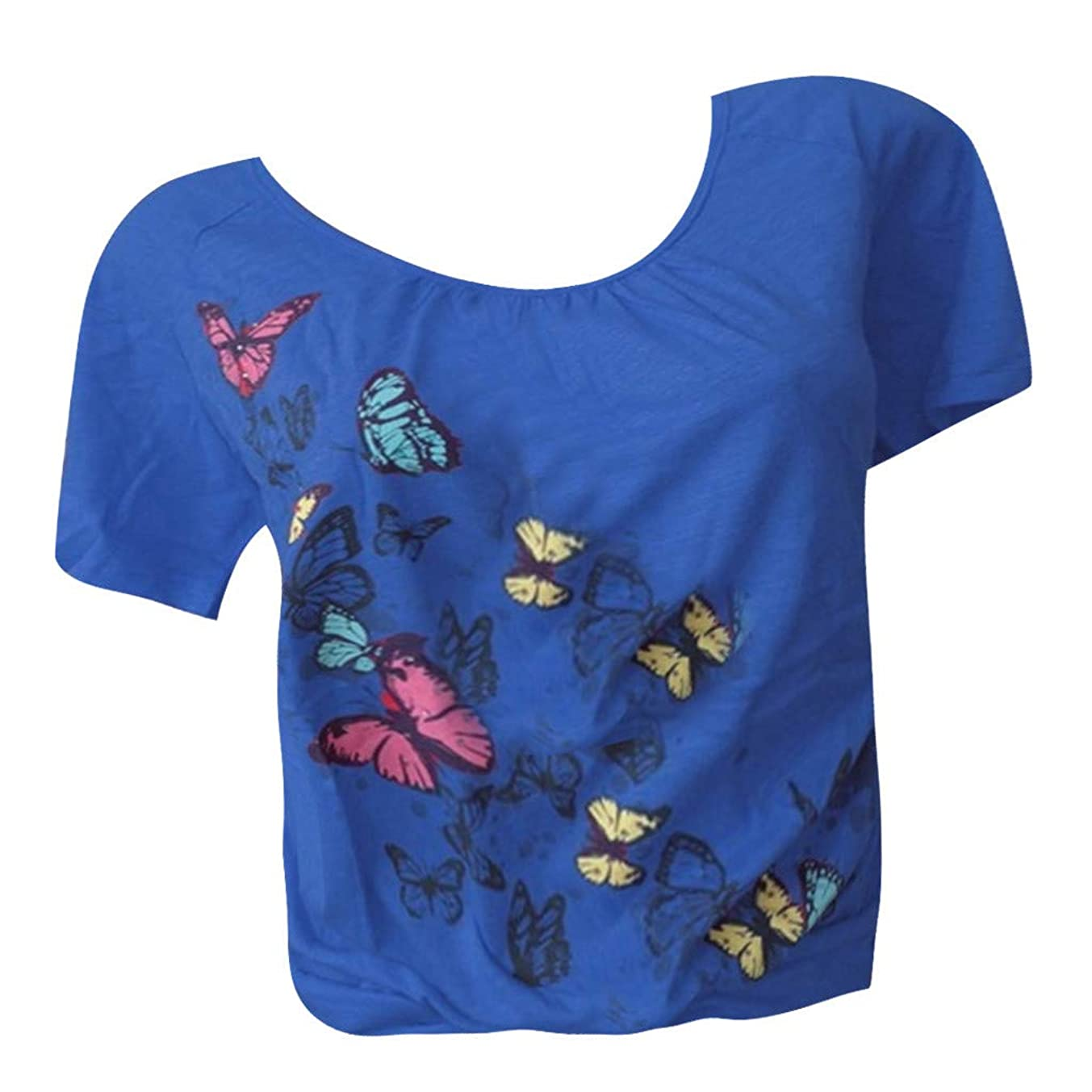 Short Sleeve Tee Blouse for Women,Amiley Womens Butterfly Prnt Round Neck Short Sleeve Summer Soft T Shirts Tops S-5XL