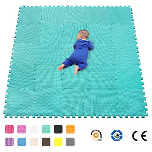 qqpp Alfombra Puzzle para Niños Bebe Infantil - Suelo de Goma EVA Suave. 25 Piezas (30*30*1cm), Verde.QQC-Hb25N