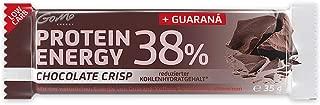 GoMo ENERGY® 38% PROTEIN BAR │ Programa de aumento de la energía y la pérdida de grasa │ 200 mg de guaraná + L-carnitina y vitaminas B │ Fuente de proteína de alta calidad | CHOCOLATE CRISP 18x35g