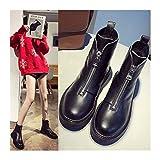 ZIJ 2021 NUEVOS Zapatos Casuales para Mujer Invierno Botas de Moda de Cuero Genuino de Invierno Tendencia de Moda Cómodo Suave Suave Wild Tube Tube Tube Boots (Color : Black, Shoe Size : 9)