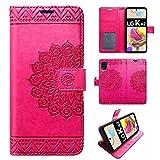 betterfon | LG K42 Hülle Handy Tasche Handyhülle Hülle Etui Schutzhülle mit Magnetverschluss/Kartenfächer für LG K42 Pink