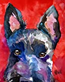hand signed scottish Terrier watercolor art print