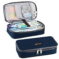TTVALLEY Pencil Case Rectangular Pencil Pouch Stationery Boxes for Kids Teen Girl Boy Men Women Navy Blue