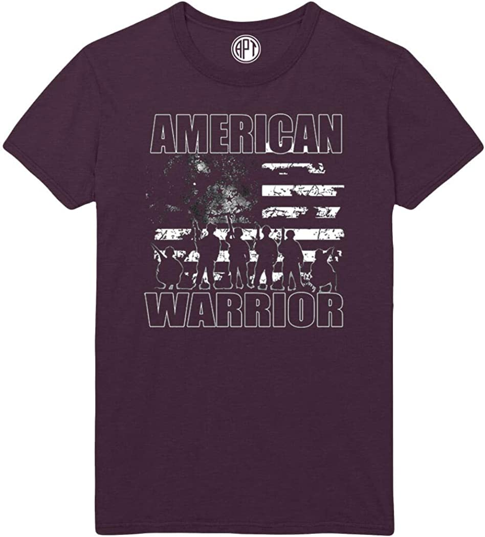 American Warrior with Distressed Flag Motif Printed T-Shirt