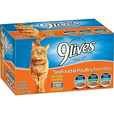 9 Lives Seafood & Poultry Favorites Wet Cat Food Variety (24 Pack), 5.5 Oz