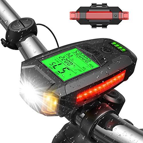 Luz Bicicleta Luces Bicicleta Potentes - Luces Bicicleta Recargable USB Faro Bicicleta con Pantalla LED 5 Modos Antirrobo e Impermeable Luz Bicicleta Delantera y Trasera Linterna Bicicletas Montaña