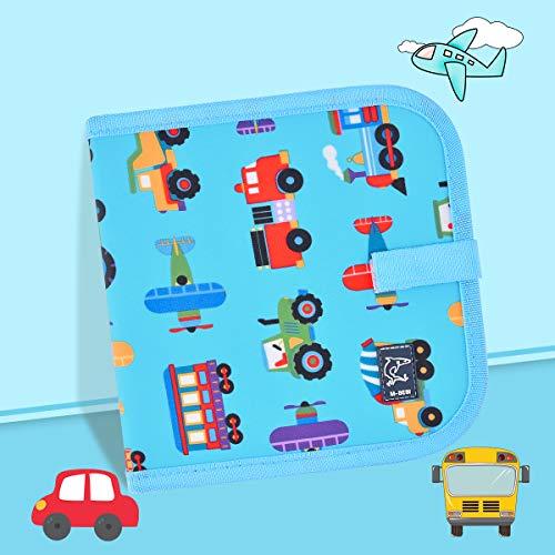 Miavogo Malbuch mit 12 Buntstifte für Kinder, Zeichenbrett abwischbar wiederverwendbar tragbar - 14 Seiten (Fahrzeug)