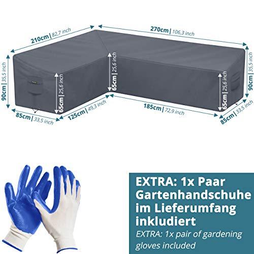 Abdeckung für L-Form Gartenmöbel & Loungemöbel 210x270x90cm Lounge Abdeckplane für L Form Gartenlounge - 5