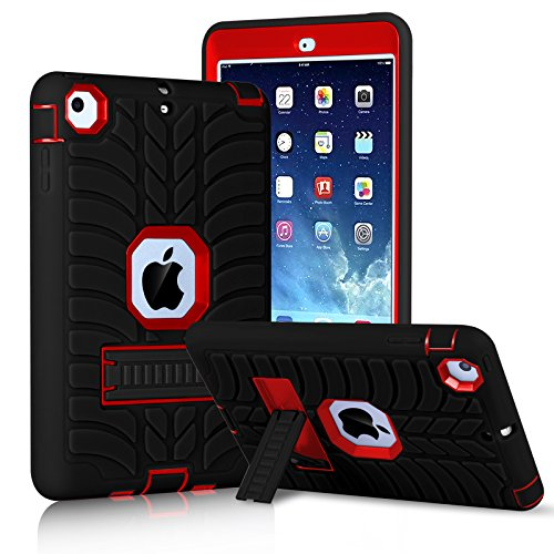 Innens for iPad Mini Case, iPad Mini 2 Case, iPad Mini 3 Case, iPad mini Retina Case, Heavy Duty Three Layer Armor Defender Protective Case with Kickstand for iPad Mini 1/2/3 (Red/Black)