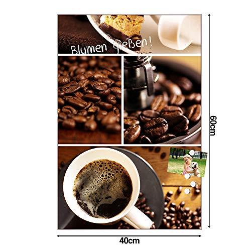 BANJADO Design Glas-Magnettafel 40x60cm groß | Magnetwand mit 4 Magneten | Memoboard beschreibbar | Magnetboard mit Motiv Kaffee&Schokolade
