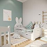 (70x160, Grau) NeedSleep Hase Rausfallschutz Kinderbett Komplett - Bett mit Lattenrost Schublade Matratze 70x140 70x160 | Kinder ab 2 jahren | Mädchen Junge | Montessori Kinderzimmer Funktionsbett