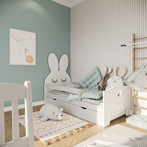 (140x70, gris) NeedSleep® cama niño infantil con colchón | 140x80 160 x80 | montessori 2 años | cama con cajones | cama bebe cabeceros infantiles | barrera cama | cama niña cama niño | conejo