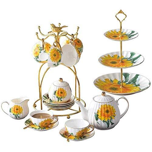 YLJYJ Set di piattini per Tazza da caffè in Ceramica con 11 Pezzi, Set da tè in Porcellana per la casa con teiera e portabicchieri, Tazza da tè e piattino con Motivo Girasole