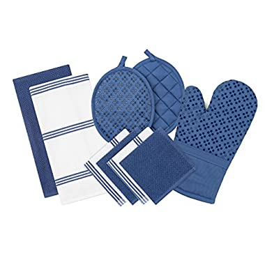 Sticky Toffee Silicone Printed Oven Mitt & Pot Holder, Cotton Terry Kitchen Dish Towel & Dishcloth, Dark Blue, 9 Piece Set
