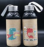 ML Pack de 2 Botella de Agua de Cristal con Funda, cantimplora a Prueba de Fugas sin BPA para Levar a la Escuela y Deportes el Termo 300ml para niños y niñas Dinos