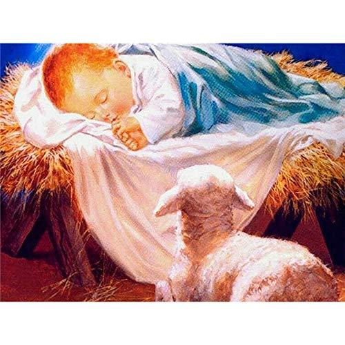 Kit de diamantes de imitación de nacimiento de Jesús con bordado de diamantes, regalo hecho a mano, pintura de diamantes, mosaico de religión, arte de pared de ovejas