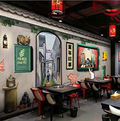 HUATULAI Wandgemälde 3D Hintergrund Retro Nostalgie 80Er Jahre Kindheit Tapete Bar String Weihrauch Hot Pot Barbecue Restaurant Restaurant Wandbild-300 * 210Cm
