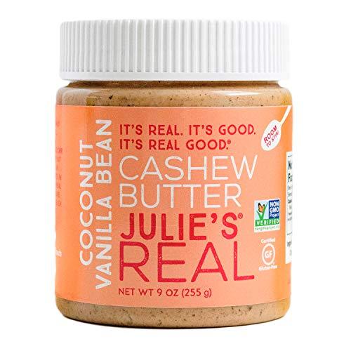 Julie's Real Cashew Butter, Coconut Vanilla Bean - Certified Gluten-Free, Verified Non-GMO, Paleo, Kosher - No Sugar Added, No Palm Oil, Peanut Free - 9 Ounce Jar