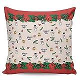 Winter Rangers Dekokissenbezüge 61 x 61 cm, Weihnachtsstern, mit Schneemann & Tanne, dekorative Kissenbezüge für Heimdekoration