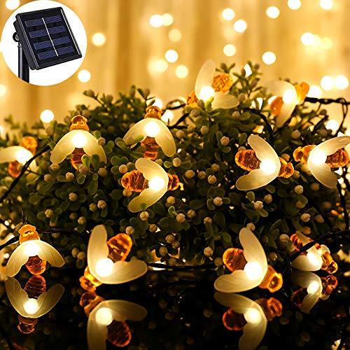 Solar Bee Lichterketten, 20 LED 5M Solar Bee Lichterketten 8 Modi Kupferdraht Lichter Wasserdichte Outdoor Lichterketten für Garten Patio Gate Yard Zaun Party -Warm Weiß
