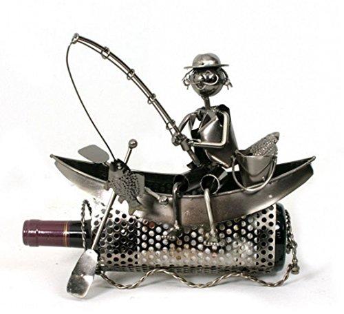 Porte bouteille design et original - Pécheur assis sur sa barque - Coloris GRIS