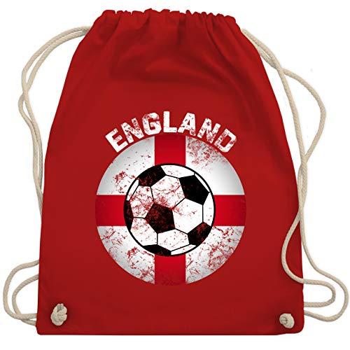 Shirtracer Fußball-Europameisterschaft 2020 - England Fußball Vintage Kreis - Unisize - Rot - Geschenk - WM110 - Turnbeutel und Stoffbeutel aus Baumwolle
